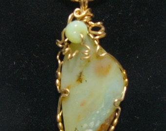 "Peruvian Opal pendant, 1 3/4"" x 3/4"", wire wrapped, 14kgf,  rare stone, natural blue stone, (j82703)"