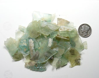 Ancient Roman Glass small shards (33.8 g) from ancient Hebron Roman glass factories, over 2000 years old  (g72211)