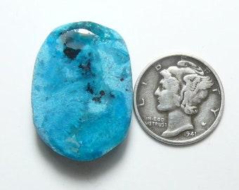 Chrysocolla prefinished rough slab, 20 x 26 x 7 mm, silica blue, rare crystallization, translucent (rs11812)