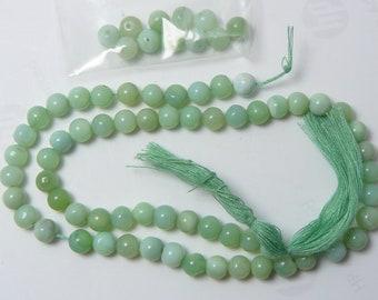 "Peruvian Opal beads, 6 mm, mixed green colors, natural, rare, 13"" strand plus 10 extra beads (pb9111)"