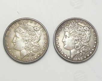 1897 and 1898 Silver Dollars, VG plus condition, tarnished, looks like they were never cleaned (c8713)