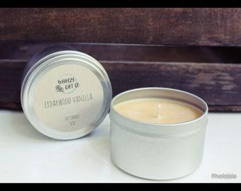 Cedarwood Vanilla 8oz Soy Candle in Metal Tin with Lid