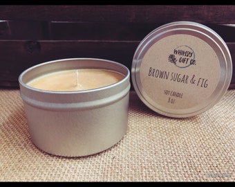 Brown Sugar and Fig 8oz Soy Candle Metal Tin with Lid