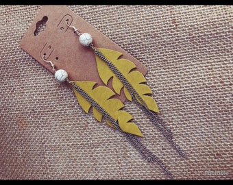 Hand Cut Leather Feather Bead Chain Earrings Mustard Yellow