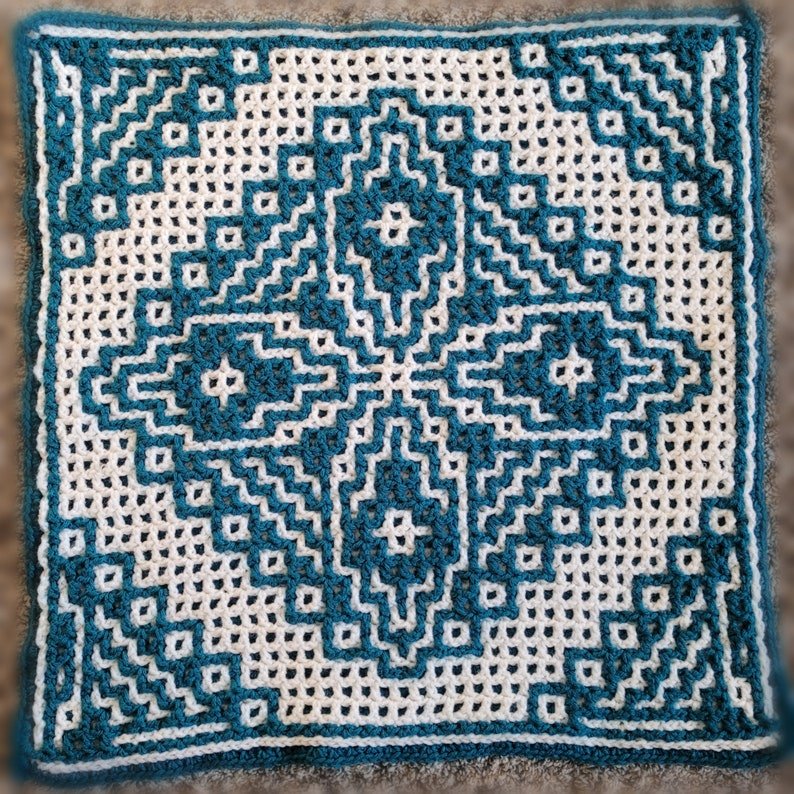 Evelyn's Motif  An Oversized Afghan Square  Interlocking image 1