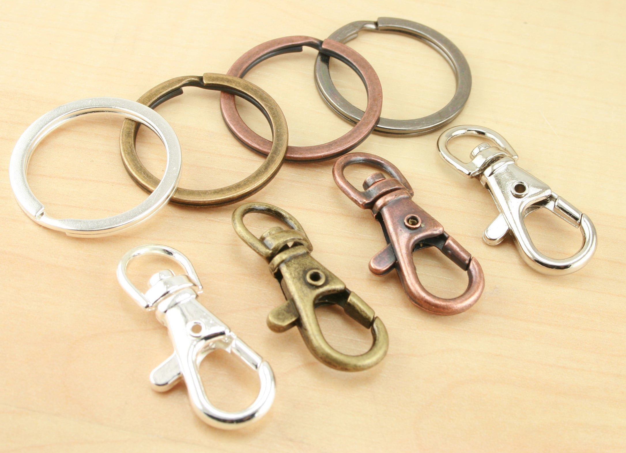 10 Key Ring Clips Standard Style DIY 4 Color Options  5584778d240e