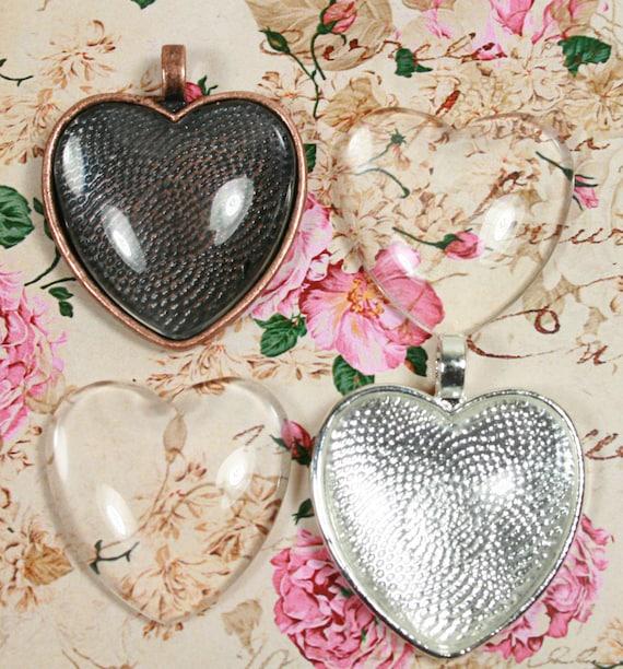 5//10 x Gold Plated Love Heart Pendant Trays Blank Bezel Cabochon Setting 21*25mm