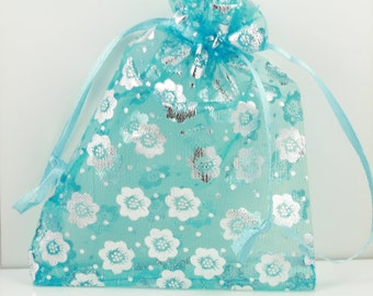 16 Organza Bags - Cute Turquoise with Shiny Silver Flowers shown or pick your quanties from the colors shown, 3X4 size, satin drawstring