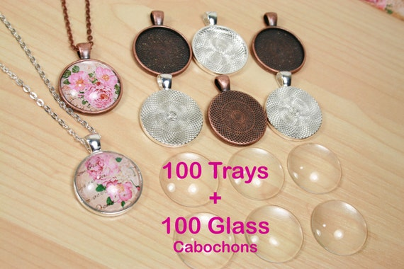 Charm Pendant Cups 20 x 12mm A1 Shiny Silver Round Bezel Blank Tray Earring