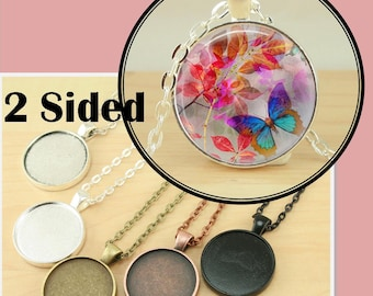 10 PENDANT STYLE Two Sided, Double Sided,  25mm Bezel Tray - 2 Sided Charm Optional  20 Glass pcs and Seals 20 or 40 count.  Ships from USA