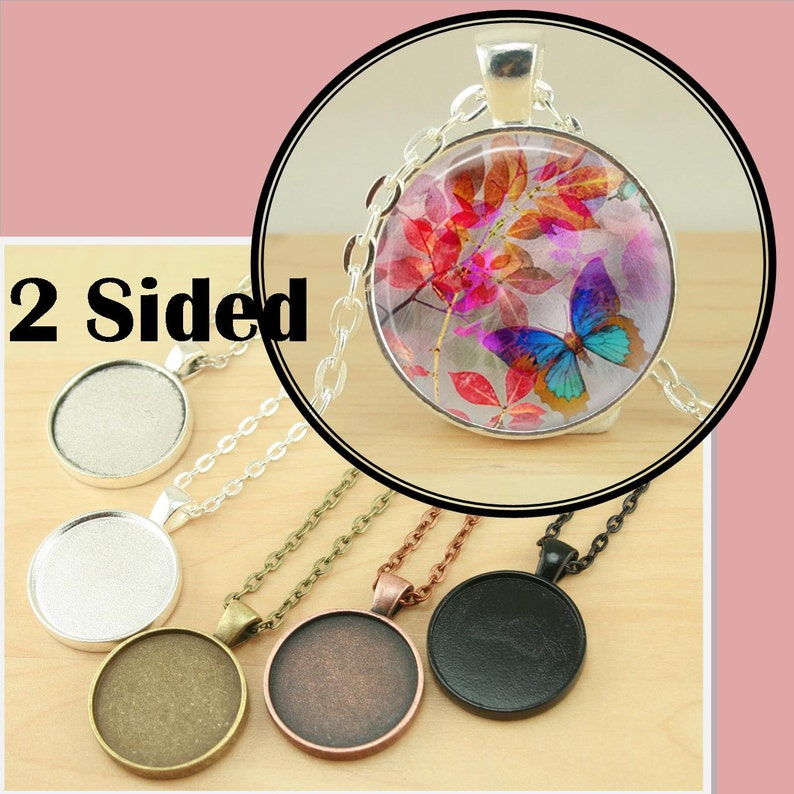 10 PENDANT STYLE Two Sided Double Sided  25mm Bezel Tray  2 image 0