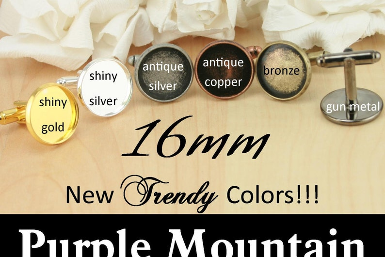6 Colors Optional 50 GLASS and 50 or 100 Seal Stickers Makes 25 Pair of Cufflink-Blanks 50 Cuff Links RECESSED Style 16mm Craft Kit