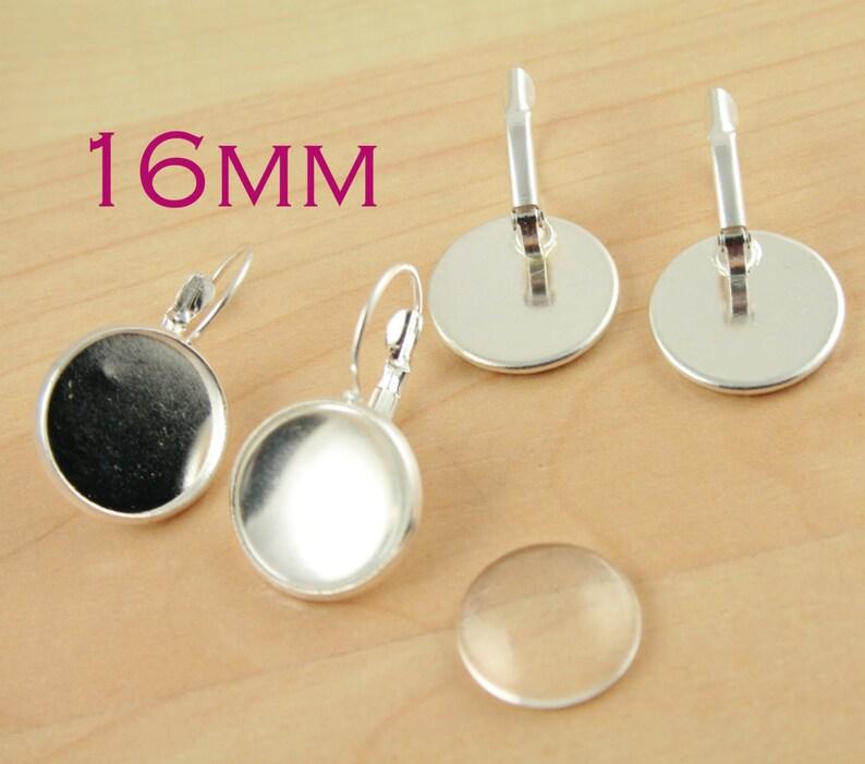 Bulk 20 pcs  Bezel Lever Back Earring Wires Settings Brass base