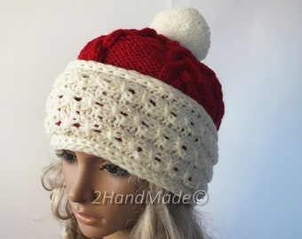 11ce0d6a4d2f7 Santa Hat Adult Women Teens Cable Knit Oversized Beret Baggy Red White  Slouchy Christmas Santa Hat Unisex beanie Chunky Pom Pom