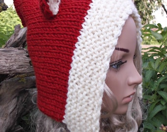 Fox Hand Knit Hat Adult Elf Pixie Hood Hat Chunky Forest Terracotta Ginger Woodland Sheep Wool