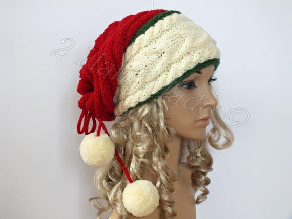 Santa cappello adulto cavo maglia Oversize Berretto larghi collo scaldino  Slouchy Natale Santa Hat trasformatore Beanie grosso tubo sciarpa pon pon 3221a0dfa937