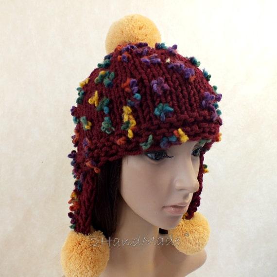 Super Chunky Hand Knit Hat Bordo Wine Merino Wool Beanie Rain  d801a084ea81
