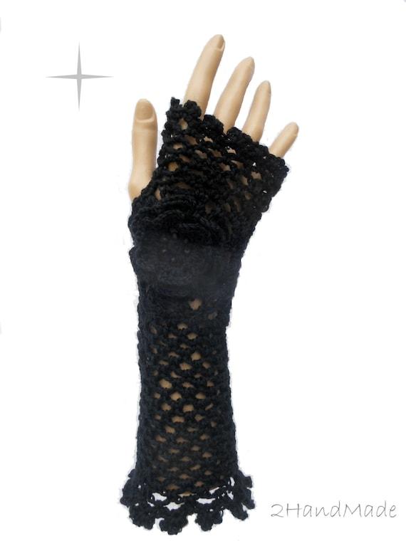Encaje irlandés Crochet guantes sin dedos mano | Etsy
