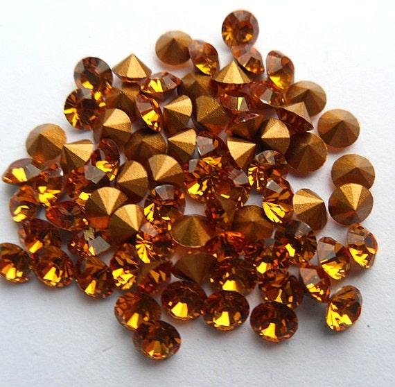 50Pieces 12mm Resin Flatback Rhinestone Round Crystal Gemstone Yellow
