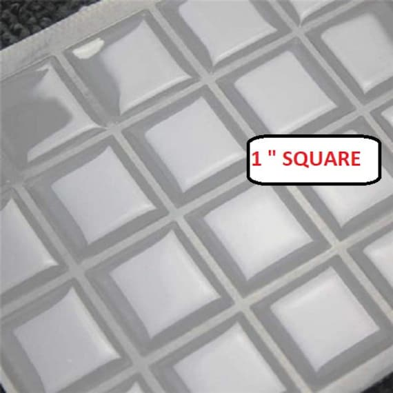 40mm Square Clear Epoxy Stickers Tiles Domes Dots Seals FREE SHIPPING