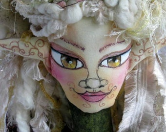 Fantasy Cloth Art Doll Bust, Fairy Deer Art Doll Bust, Soft Sculpture Bust, Woodland Fantasy Bust