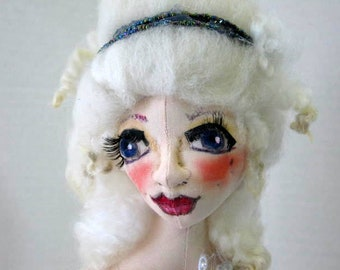 Cloth Art Doll Bust, Marie Art Doll Bust, Soft Sculpture Doll Bust, Elegant Bust Art Doll