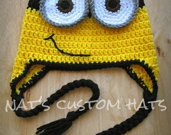 Crochet PATTERN Minion Hat PDF File Instant Download - All Sizes Included f16759597bf