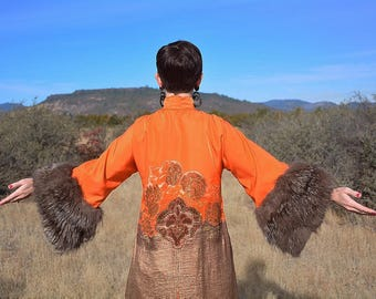 RESERVED// Incredible Re-Styled 1920s Cheongsam Mandarin Coat Dress Gold Lame Beading Silver Fox Fur Sleeves Size SMALL As-Is