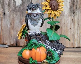 Owl and Sunflower Sculpture