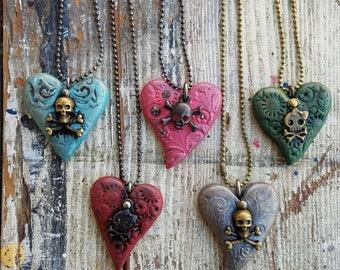 Heart Pendant, skull charm