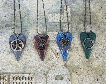 Heart Pendants, with gear charms