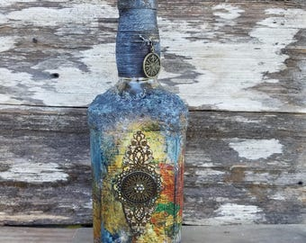Salvaged Bottle, Large Map and compass