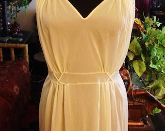 db23587c68 Vintage 1990s Pastel Blush Yellow Maxi Lingerie Night Gown