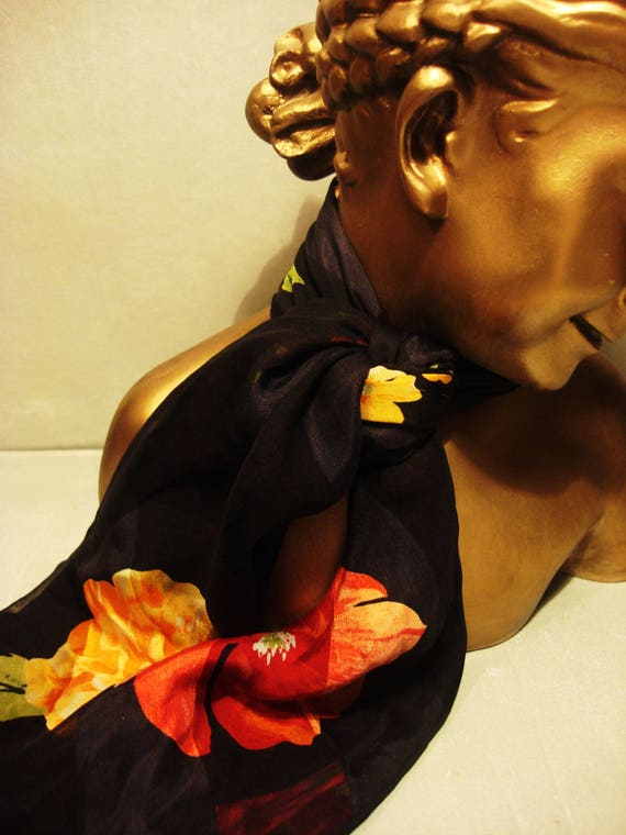 RESERVED Vintage 1990's Silk Black Scarf with Red