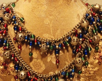 Vintage 1980s Two Tier Burst of Color Necklace