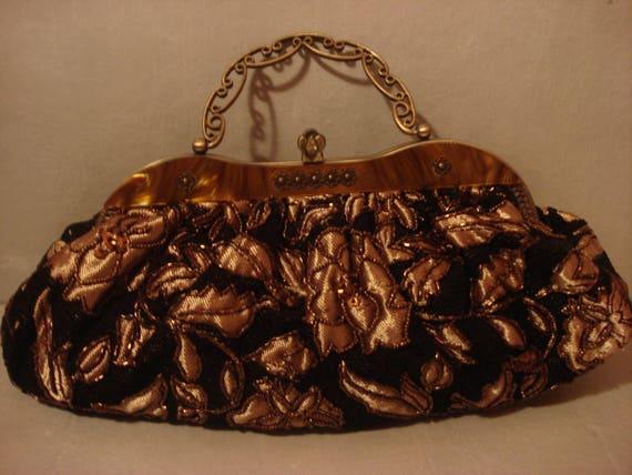 Vintage 1970s Boho Black Embroidered In Gold Handb
