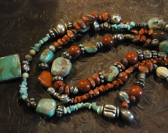 Handcrafted Boho Southwestern Turquoise and Coral Three Strand Necklace