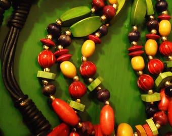 Vintage 1970s Boho Gypsy Wild Fruit Colors Multi Strand Wooden Necklace