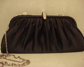 Vintage 1990s Black Boho Chic Satin Evening Clutch Handbag