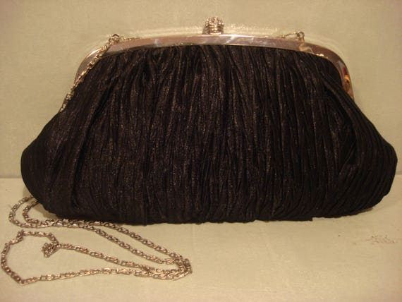 Vintage 1990s Black Clutch Satin Handbag