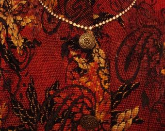 Vintage 1990s Embellished Boho Rhinestone Trimmed Neckline Tapestry Coat Jacket
