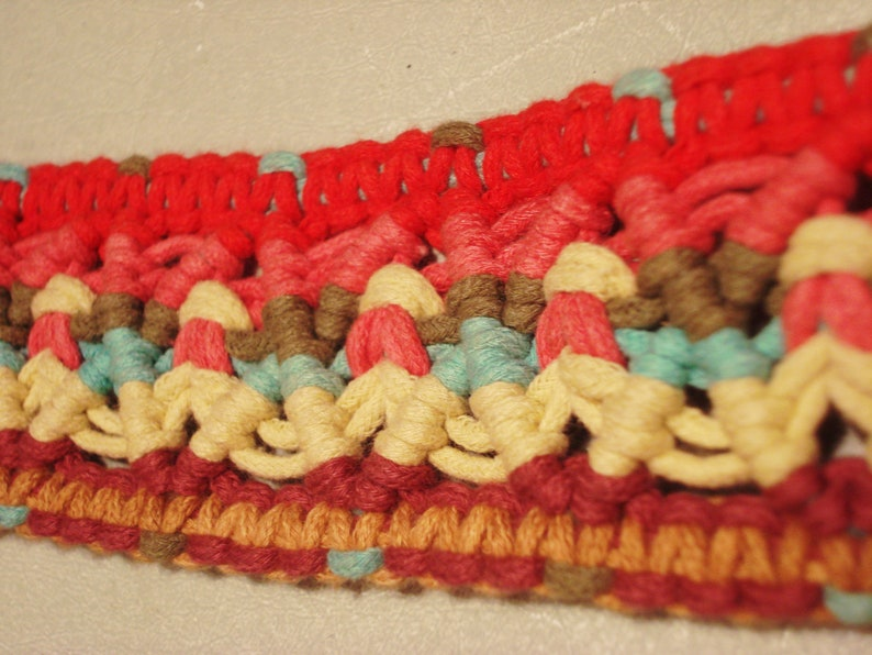 Vintage 1990s Red Boho Crochet Embroidered Woven and Faux Suede Detail Belt