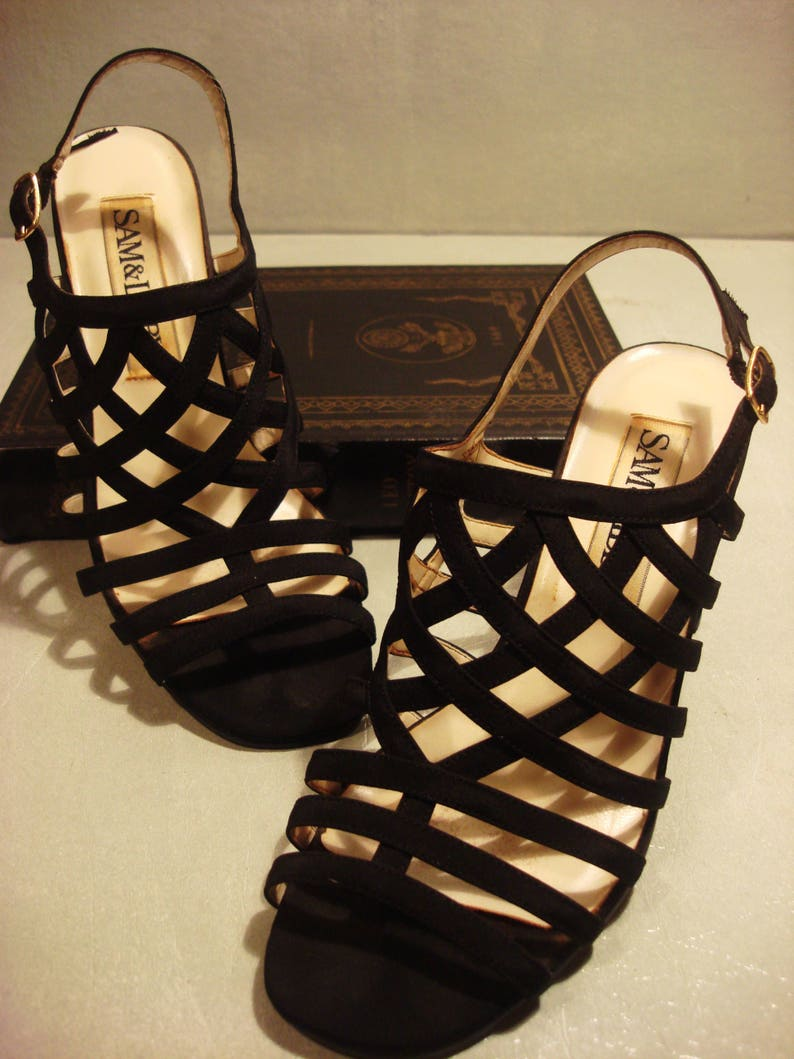 b2d3a53e98e Vintage 1990s Black Sam and Libby Strappy Square Heel Sandals