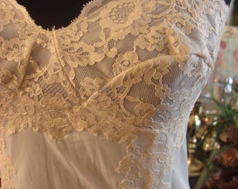 Vintage 1950s White with Antique Lace Slip Dress Gown