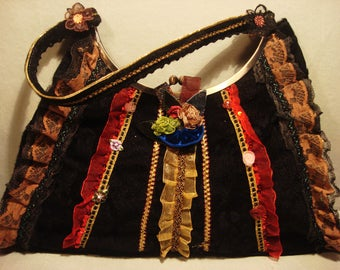 Vintage 1990s Black Boho Chic Ziba Handbag Purse with Ruffles