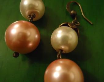 Boho Vintage Inspired Sweet Bridal Treasure Pink and Pearl Earrings