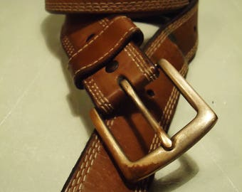 Vintage 1990s Boho Chic Honey Tan Leather Belt with Beige Side Stitching