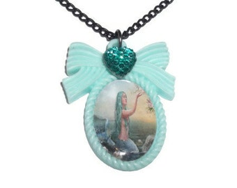 Pastel Mermaid Necklace, Mint Green Kawaii Pastel Cameo Necklace