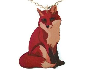 Red Fox Necklace Cute Wood Fox Pendant Animal Jewellery Laser Cut