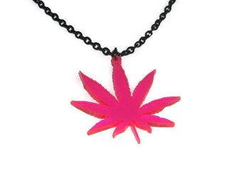 Weed Leaf Necklace, Weed, Hash Pot Leaf Charm, Stoner, Neon Pink Laser Cut Acrylic Jewelry